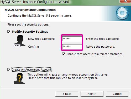 """Modify Security Settings""にチェックを入れます。"