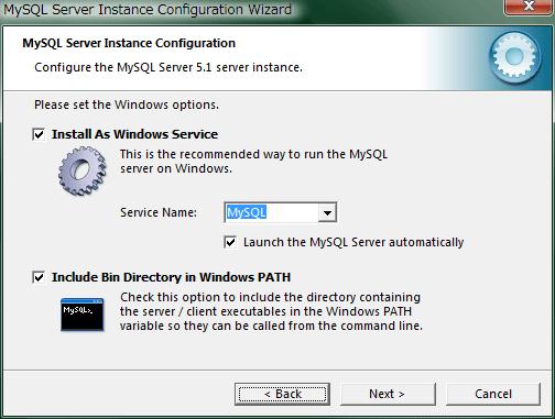 """Install As Windows Service""にチェックを入れておきます。"