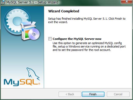 """""""Configure the MySQL Server now""""チェックボックスには印をつけないで""""Finish""""ボタンをクリック"""