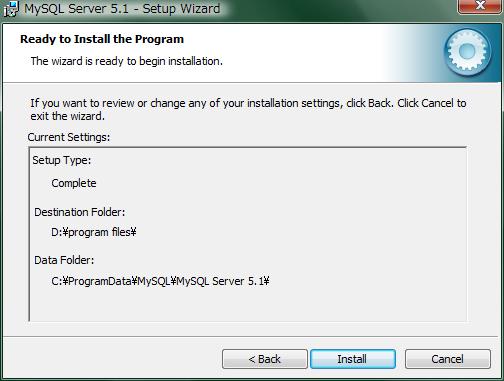 """インストール先を選択して""""install""""をクリック"""