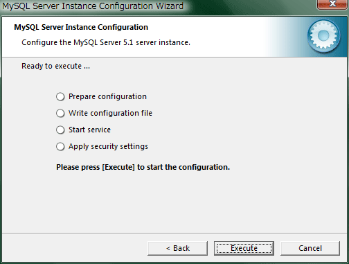 """Processing configuration""でMySQLサーバとの接続の確認が始まりますのですべての項目にチェックがつけば設定完了です。"