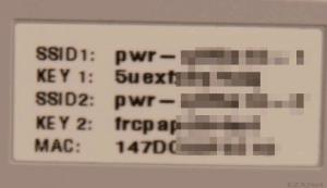 「SSID1」と「KEY1」、「SSID2」と「KEY2」のアップ画像