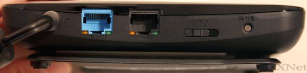 """スイッチは""""RT""""に切り替えます。""""RT""""にするとPWR-Q200-OPがルータモードに切り替わります。"""