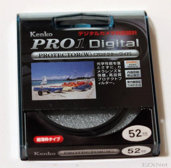 今回同時に買ったレンズ保護フィルター Kenko Pro Digital 口径は52mmです。