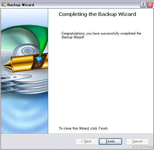 Completing the Backup Wizardが表示されてバックアップデータが作成されました。