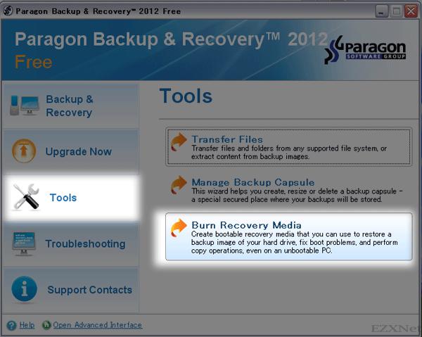 """メニューの左側に表示されている""""Tools""""をクリックして""""Burn Recovery Media""""を選択します"""