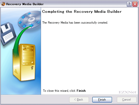 Completing the Recovery Media Builder