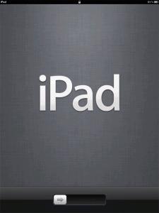 """電源をいれると画面に大きく""""iPad""""と表示されます。"""