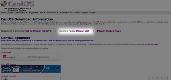 """""""CentOS Public Mirror List""""をクリック"""