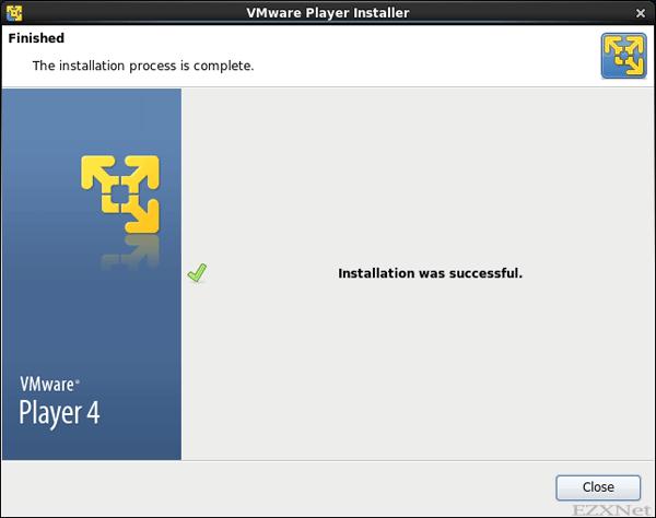 VMware Playerのインストール終了