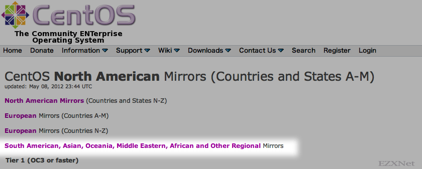 """South American, Asian, Oceania, Middle Eastern, African and Other Regional Mirrors""をクリック"