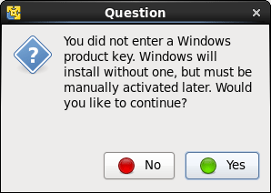 Windowsのプロダクトキーを入力しないとインストールが完了しないと出ますがそのままYesで進めていきます。