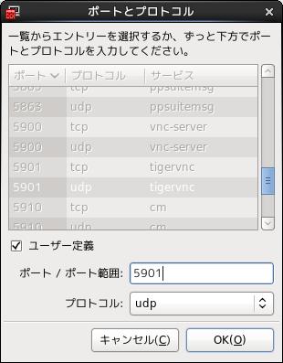 ポート番号は5901 プロトコルはudp