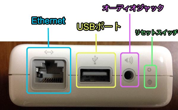 左からEthernet WANポート、USBポート、3.5mmミニオーディオジャックと各ポートが並んでいます。