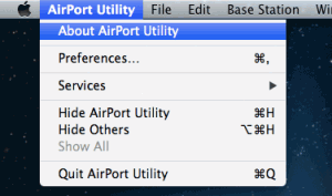 Open AirPort Utility and click About AirPort Utility on menu bar.