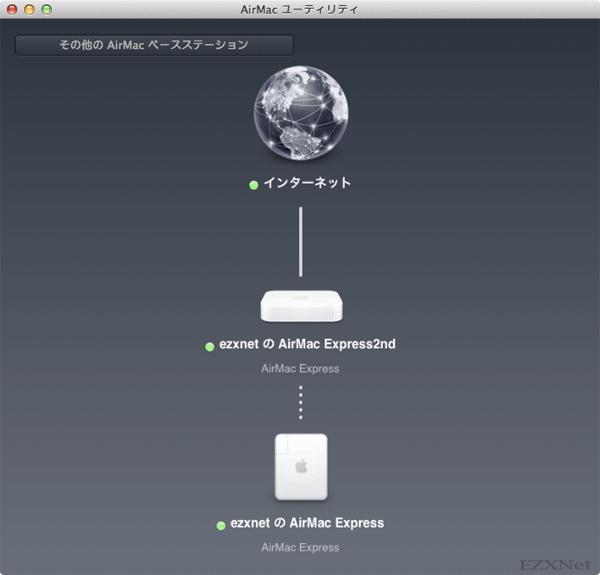AirMacユーティリティの画面でAirMacベースステーション同士が接続されている事が確認できます。この状態で使用すれば電波が遠く離れているところからでも接続ができるようになります。