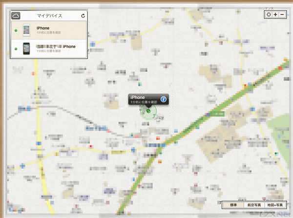 地図が表示されます。この地図の中でiPhoneの位置を探していきます。オンラインになっているiPhoneは既に位置情報が表示されている状態です。