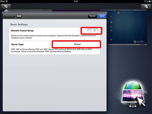 VNCサーバに接続する為の設定2