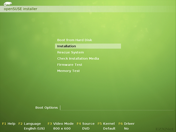 openSUSEのディスクブート画面