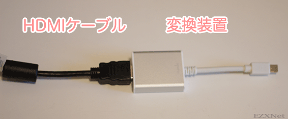 moshi MiniDisplayPortとHDMI adapter [Audio Signal Support]とHDMIケーブルを接続