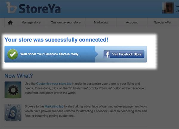 """接続が出来ればこのように""""Your store was successfully connected!""""と表示されます。"""