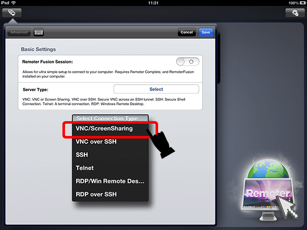 VNC/ScreenSharingをタップします。