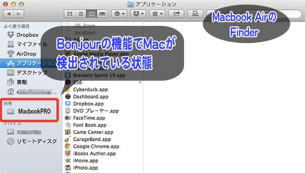 Bonjourが機能しているとFinderを開いた時に画面の左側にホスト名が表示されてコンピュータが識別できるようになっています。