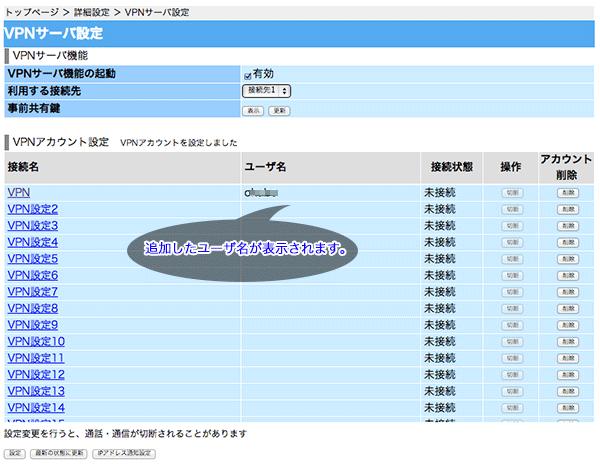 VPNアカウントには先ほど作成したユーザ名が追加されている状態