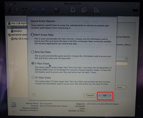 7-Pass Eraseをクリックするとハードディスクの消去が始まります