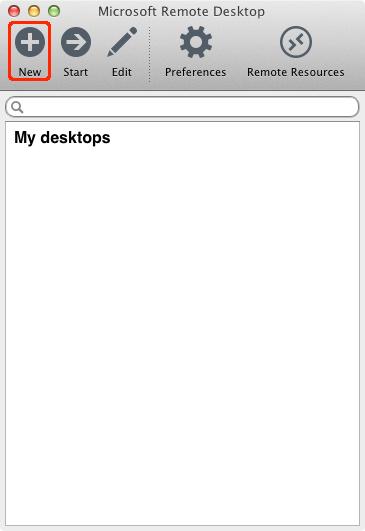 Microsoft Remote Desktopを開き接続に必要な情報を入力していきます。左上のNEWボタンをクリック