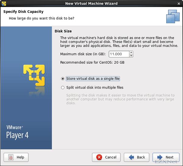 仮想マシンに割り当てるディスク容量を設定します