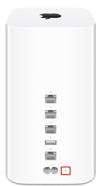 AirMac Extremeのリセットボタンの位置