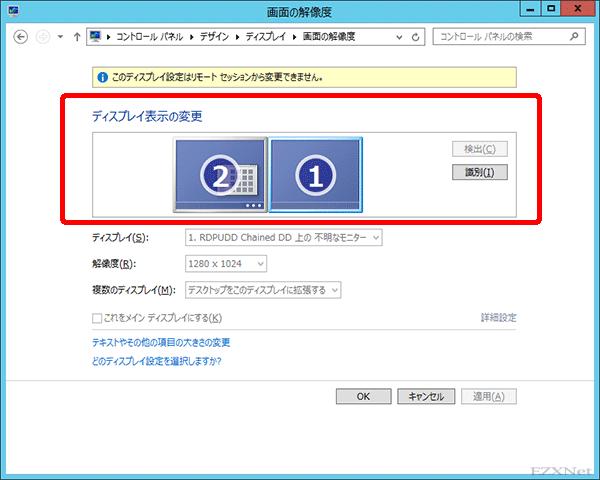 コントロールパネルのディスプレイの設定を確認するとリモート環境でもディスプレイが二台認識されています