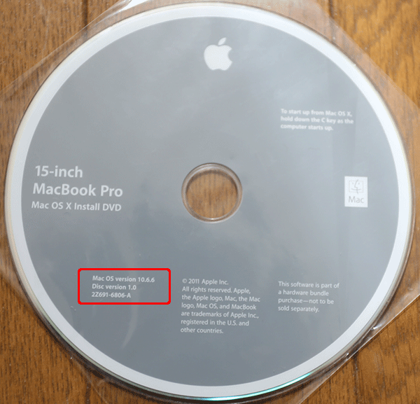 MacOS10.6のインストールディスク
