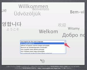 使用する言語の選択画面です。日本語を選択しています