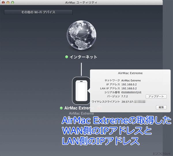AirMac Extremeのアイコンを選択するとWAN側のIPアドレス、LAN側のIPアドレスが確認できます
