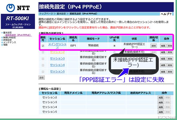 PPPoE接続設定が「未接続(PPP認証エラー)」と表示されているときはフレッツが提供する光回線には問題がないのですがISPまで到達して「接続ユーザ名」と「接続パスワード」に相違があるため接続できないことを表しています