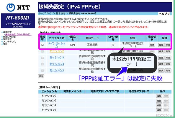 PPoE接続設定が「未接続(PPP認証エラー)」と表示されているときはフレッツが提供する光回線には問題がないのですがISPまで到達して「接続ユーザ名」と「接続パスワード」に相違があるため接続できないことを表しています。