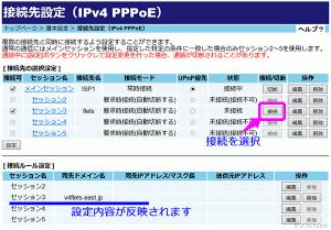 PPPoE接続の実行