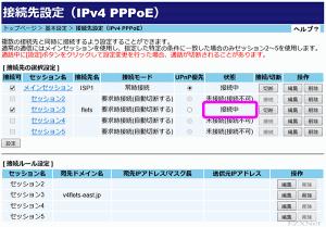 PPPoE接続が確立された状態