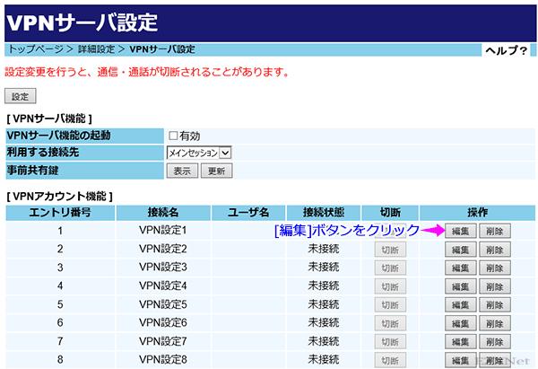 [VPNアカウント機能]一覧にVPNアカウントが表示されます。ここではVPNアカウントを作成します。アカウントの作成には[編集]ボタンをクリックします。