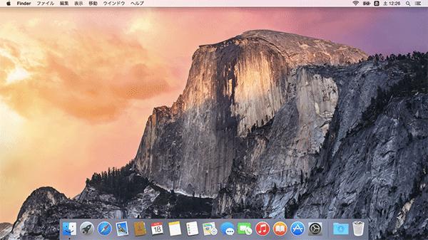 Yosemiteのデスクトップ画面が表示されます。