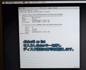 diskutil cs listでMacでマウントされているディスクを確認します。