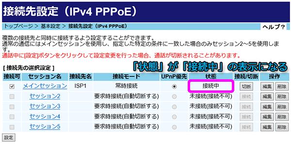 「状態」が「接続中」の表示に切り替わりPPPoE接続が確立された状態になります