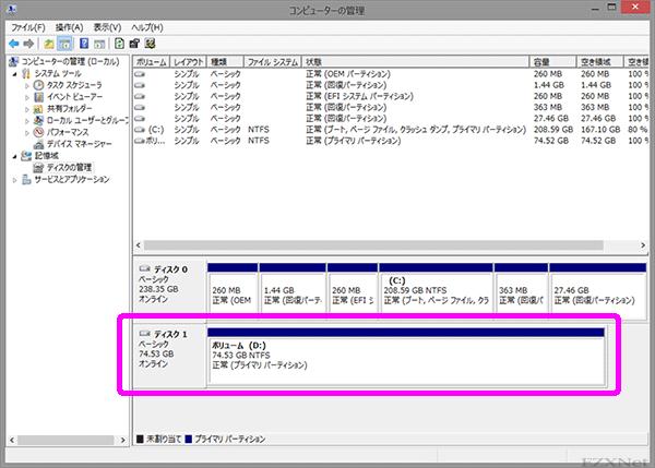 NTFSの状態にフォーマットされてWindowsからディスクへの書き込みと読み込みができるようになります。