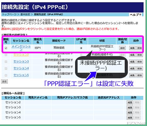 未接続(PPP 認証エラー)